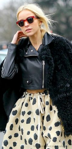 leather jacket and femme skirt