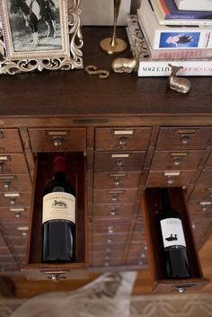 A subversive use for a vintage card catalogue as wine bottle storage. Love this upcycling idea!