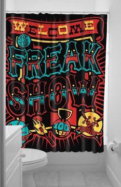 Sourpuss Freak Show Shower Curtain Gothic Punk Metal Psychobilly Oddities Home | eBay