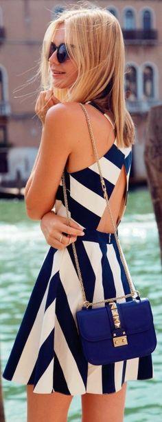 Blue and White Chevron Dress With Chain Handbag