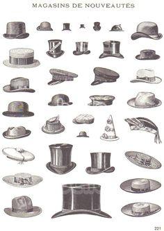 Vintage French Illustration of Mens Hats - Magasins De Nouveautes - France Advertising Art