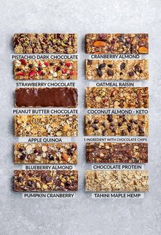 Homemade Granola Bars - 12 Ways - Switch up your snack lineup with these healthy.,Healthy, Many of these healthy H E A L T H Y . Homemade Granola Bars - 12 Ways - Switch up your snack lineup with these healthy on-the go snacks. Healthy Granola Bars, Healthy Protein Snacks, Healthy Bars, Homemade Protein Bars, Homemade Kind Bars, Keto Protein Bars, Healthy Homemade Snacks, Sugar Free Protein Bars, Homemade Muesli Bars