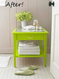 Colorful Furniture Makeovers - how cute is this for a bathroom table