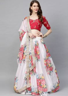 #white #floral #digital #printed #organza #lehenga #choli #designs # traditional #indian #outfits #gorgeous #wedding #look #ootd #new #arrival #womenswear #online #shopping Choli Designs, Lehenga Designs, Lehenga Choli, Silk Sarees, Salwar Kameez, Kurti, Party Wear, Bollywood, High Waisted Skirt