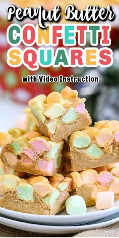 These no bake PEANUT BUTTER CONFETTI SQUARES is a classic dessert that's a hit with young and old alike. Simple to make and just 4 ingredients, including butterscotch. #confettisquares… More Tray Bake Recipes, Easy Baking Recipes, Best Dessert Recipes, Easy Desserts, Sweet Recipes, Delicious Desserts, Yummy Food, Tasty Snacks, Holiday Recipes