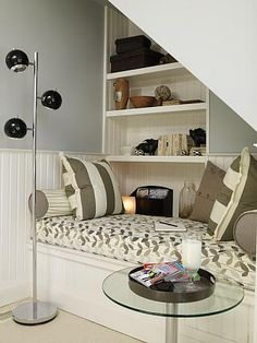 Kids Den | Sarah Richardson Design / nook in the wall for boks