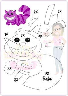 Eu Amo Artesanato: A Turma da Alice no País das Maravilhas com moldes Felt Animal Patterns, Felt Crafts Patterns, Paper Piecing Patterns, Stuffed Animal Patterns, Gato Alice, Alice In Wonderland Crafts, Felt Templates, Applique Templates, Applique Patterns