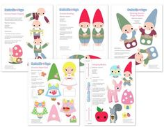 free gnome printables -- mobile, paper dolls, jointed paper dolls, finger legs paper dolls