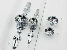Glass Crystal Dresser Knobs Drawer Pulls Cabinet Knob Back Plate Silver Clear #Unbranded
