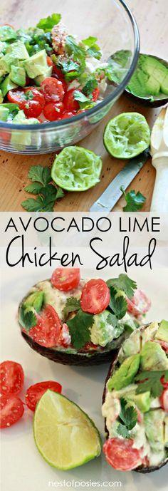 Avocado Lime Chicken Salad. Delicious and healthy chicken salad recipe!