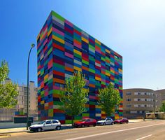 enochliew:    PAU Carabanchel by Rafael Cañizares & Eduardo Vadillo Ruiz  The block of 16 colours was inspired by a painting of Paul Klee.