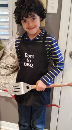 Born to BBQ Kid Apron Kids Apron, Wetsuit, Bbq, Swimwear, Fashion, Scuba Wetsuit, Barbecue, Barbacoa, One Piece Swimsuits