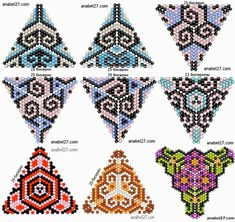 Triangles, Peyote triangle and Peyote Stitch Patterns, Seed Bead Patterns, Beaded Jewelry Patterns, Beading Patterns, Peyote Triangle, Triangle Pattern, Triangle Design, Beading Techniques, Beading Tutorials