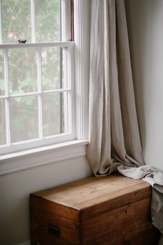 Natural linen curtain, quiet corner