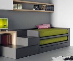 Dormitorio juvenil juvenil minimalista con dos camas for Programa amueblar habitacion