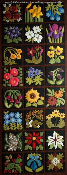 Wool applique BOM patterns &/or KITS for ALL 24 6x6 inch