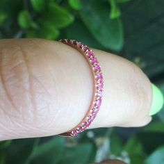 Hot Pink Sapphires on Genuine Rose Gold.  Full eternity in both 14K and 18K we've listed today!