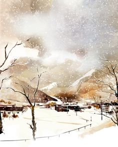 """Kim Ji Hyuck (Hanuol), """"위즈덤하우스 경청"""" (""""Listen to Wisdom House"""") illustration. Those are telephone wires, right? Even telephone wires look pretty here, covered in the snow. Watercolor Landscape, Landscape Paintings, Watercolor Paintings, Watercolours, Orange Art, Yellow Art, Poetry Art, Brown Art, Winter Scenery"""