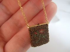 Intricate details to DIY miniature beaded handbag for the lady in the dollhouse - materials: micro beads and cardboard - good tips on how to get them to stay in place