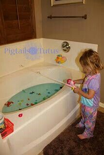 Fishing in the tub using a magnet!