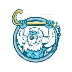 Yeti Lifting J Hook Circle Retro Vector Stock Illustration  Retro style illustration of a muscular yeti or Abominable Snowman, an ape-like entity lifting or holding up a j hook or tow hook set inside circle on isolated background. #illustration   #YetiLiftingJHook