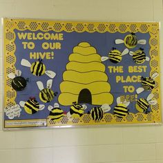 Welcome to our Hive bee themed bulletin board with the Jumbo Stencil-Cut Honeycomb border.