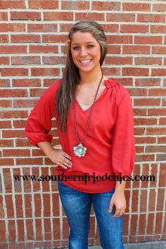 Kaitlyn Blouse- Red $42.99!