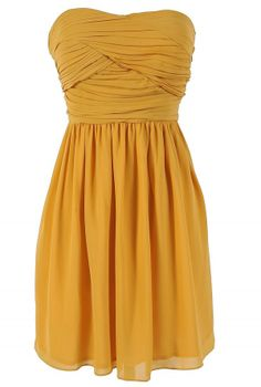 Pleated Chiffon Strapless Dress in Marigold
