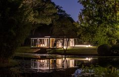 Views from the Water, Evening, Lighting, Glass Pavilion in Somersby, Australia