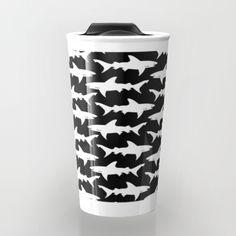 Pattern of white sharks against a black background.<br/> <br/> sharks, ocean, fish, great white shark...