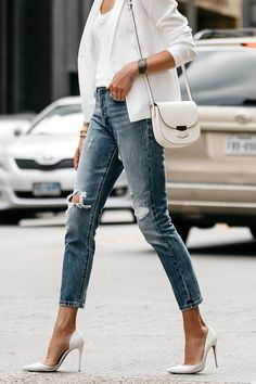 White Blazer Distressed Jeans Outfit