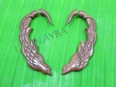 wooden tribal earrings by Leginayba on Etsy, $6.99 #tribal earrings #tribal style #wooden earrings #FakeGauge #FauxGauge #OrganicJewelry #EcoJewelry #natural #bali