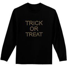 Trick or Treat Candy Corn Halloween Adult Long Sleeve Dark T-Shirt ($20) ❤ liked on Polyvore featuring costumes, black widow halloween costume, dark angel costume, candy corn halloween costume, halloween costumes and black halloween costumes