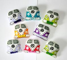 VW Brooches: How cute are these little handmade gems? I want one of each color, please.