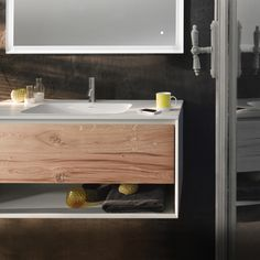 45º UP vanity features an open shelf to store and display towels and other toiletries. Vintage Oak drawer front adds heaps of character. #bathroom #vanity #interiordesign