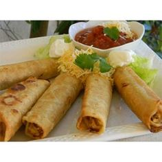 Corn tortillas are filled with shredded seasoned chicken, cheese, and your favorite salsa, then fried to a golden crisp.