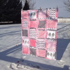 Toddler Bed Size RAG QUILT Pink and Gray by avisiontoremember, $180.00