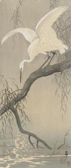 Japanese Art Print White Heron on Tree Branch by