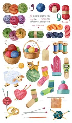 Buy Watercolor Knitting and Crocheting Set by Astaru on GraphicRiver. Watercolor Knitting and Crocheting Collection (Set) It's all for knitting lovers! Yarn, needles, wool and even a kit. Sewing Art, Sewing Crafts, 3d Cuts, Paper Art, Paper Crafts, Knit Art, Knitting Yarn, Cute Stickers, Vintage Sewing