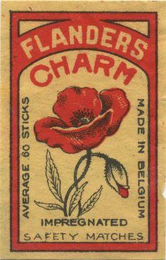 Flanders charm - vintage matchbox label