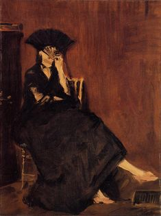 Edouard Manet:   Berthe Morisot with a Fan, 1872, I love the mood these colors orchestrate. I also find it interesting that the woman in this painting is not looking above the fan, but between the slats of the fan. #Manet #OilPainting #FavoriteArt