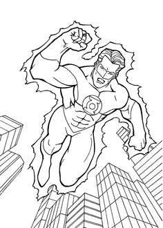 Green Lantern coloring pages for kids, printable free