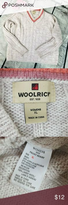 Woolrich Cable Knit V Neck Sweater size XL Woolrich Cable Knit V Neck Sweater size XL in great used condition. Some minor pilling. The color is a very soft lavender. Very pretty! Please let me know if you have any questions. Happy Poshing! Woolrich Sweaters V-Necks