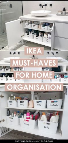 Ready to get organised? Its time to tidy up and declutter your small spaces, bathroom, kitchen, bedroom, and more. Organisation Ikea, Storage Organization, Organization Ideas For The Home, Small Bathroom Organization, Storage Baskets, Storage Ideas For Bathroom, Organizing Ideas For Kitchen, Organization Ideas, Cool Ideas