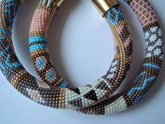 Bead crochet rope necklace patchwork by Barcelonaibizacolors, €55.00