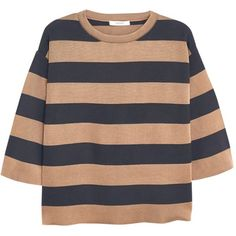 Mango Striped Cotton Sweater, Medium Brown (€48) ❤ liked on Polyvore featuring tops, sweaters, 3/4 length sleeve tops, brown sweater, brown tops, cable sweater and brown striped sweater