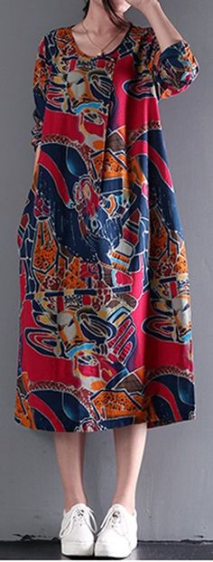 Women loose fit over plus size extract flower pocket dress maxi tunic fashion #Unbranded #dress #Casual