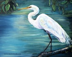 White Egret Oil-Art by Jen Callahan Tile,Cuttingboard,Paper Print