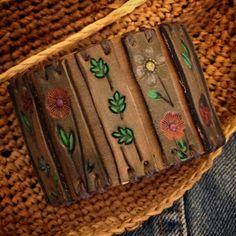 Groovy Boho Leather Bracelet Leather Flower Power от dgierat