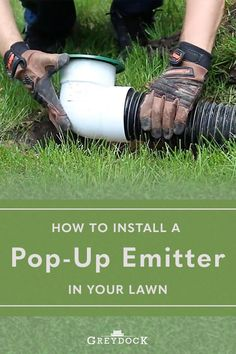 If you need to improve your downspout drainage, consider installing a pop-up emitter. This affordable DIY project won't take longer than an afternoon for even an inexperienced do-it-yourselfer. Yard Drainage, Drainage Solutions, Backyard Patio, Pop Up, Lawn, Improve Yourself, The Neighbourhood, Diy, Landscape